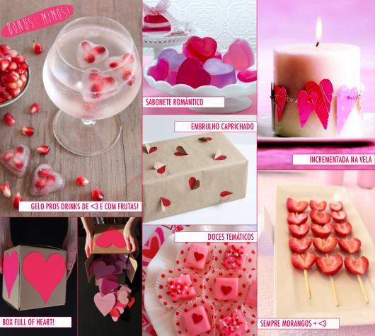 Decoração Dia dos Namorados simples comida em forma de coração