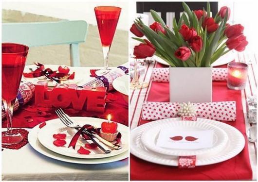 Decoração Dia dos Namorados no jantar com louça vermelha e branca