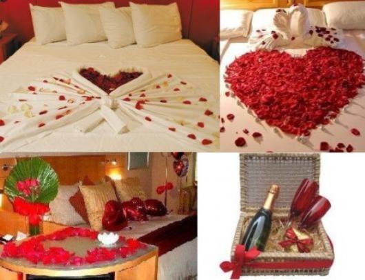 Decoração Dia dos Namorados no quarto com pétalas de flor