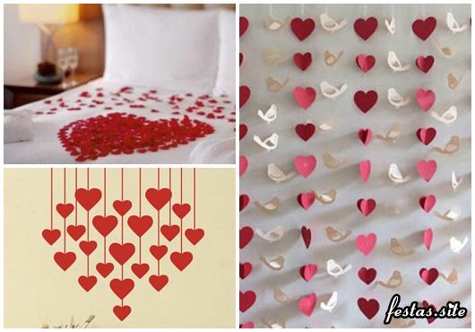 Decoração Dia dos Namorados simples cortina de coração