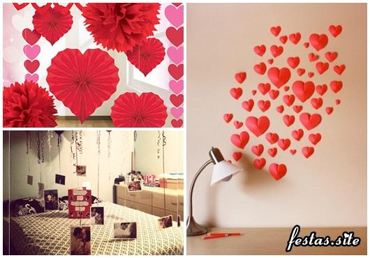 Decoração Dia dos Namorados de papel coração de papel crepom