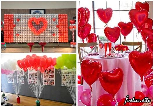 Decoração Dia dos Namorados com balões painel