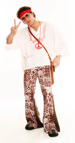 f39fde12d1194 A calça boca de sino pode estar presente em uma fantasia anos 70 masculina  tanto na inspiração da era Disco quanto nos movimentos hippies.