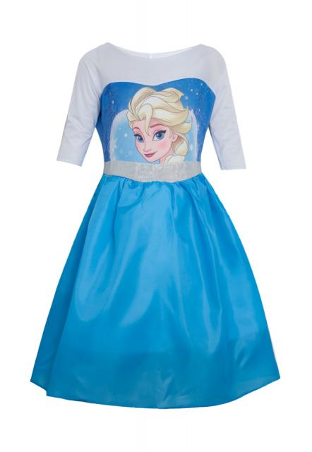 Fantasia da Frozen Elsa estampada com mangas brancas