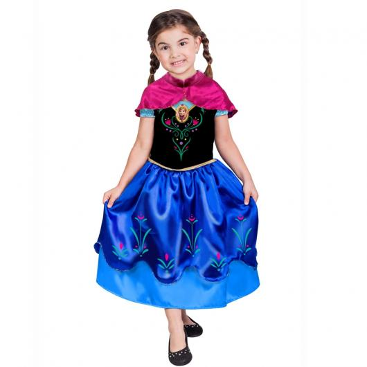 Fantasia da Frozen personagem Anna com estampa de flores