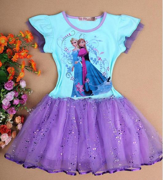 Fantasia da Frozen personagem Anna azul e lilás