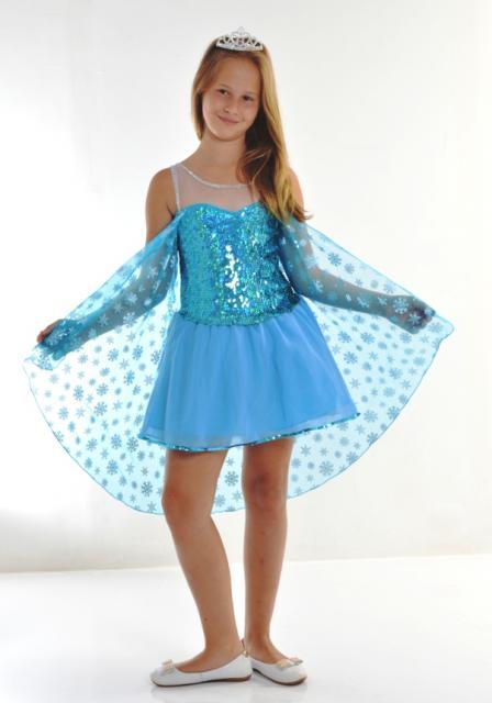 Fantasia da Frozen Elsa curta com capa de tulê