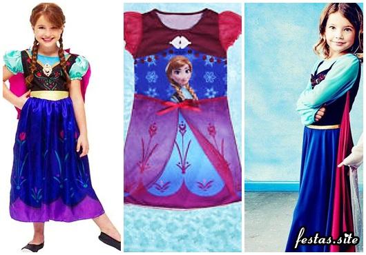 Fantasia da Frozen personagem Anna modelos com capa