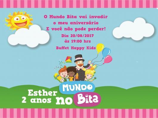 Convite Festa Mundo do Bita com detalhes em rosa