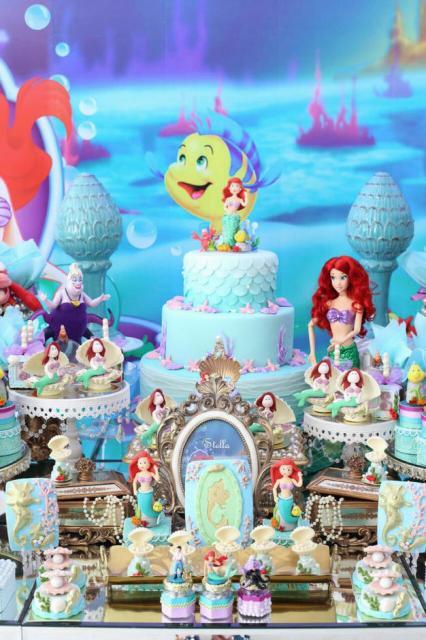 Festa Pequena Sereia Ariel u2013 40 Dicas com Inspirações Apaixonantes! -> Enfeites De Mesa Tema Sereia