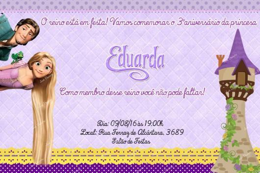 Festa Rapunzel convite cartão lilás com detalhe da Rapunzel com o príncipe