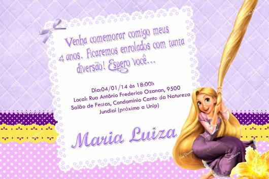 Festa Rapunzel convite cartão simples feito em casa