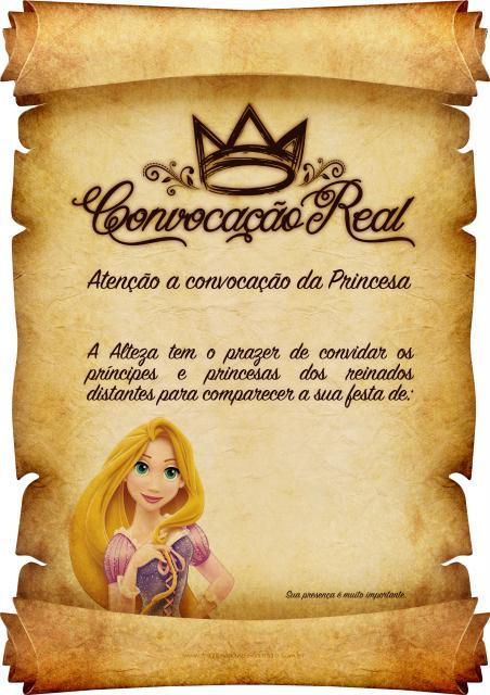 Festa Rapunzel convite no modelo de pergaminho