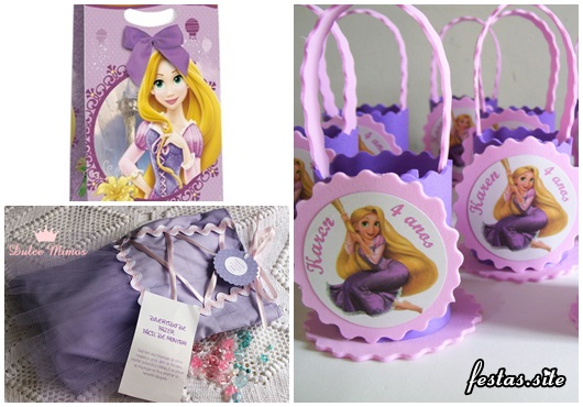 Festa Rapunzel modelos de lembrancinha porta doces, saquinho surpresa no formato de vestido e sacolinha personalizada