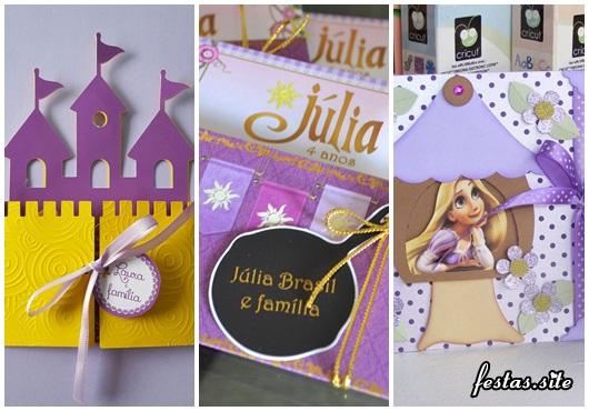 Festa Rapunzel modelos de convite scrap