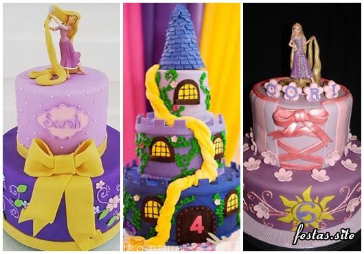Festa Rapunzel modelos de bolo decorado com pasta americana