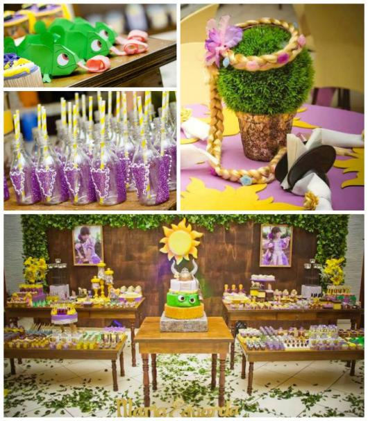 Festa Rapunzel Baby decorada com móveis rúsicos e kit festa rapunzel