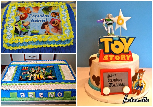 Festa Toy Story modelos de bolo decorado com chantilly, topper e papel de arroz