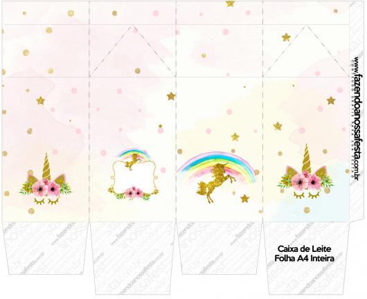 Kit Festa Unicórnio para imprimir grátis: caixinha