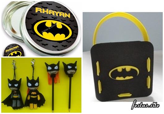 Fotos e Ideias de Lembrancinhas do Batman simples latinha personalizada, ponteira de lápis e maleta de EVA
