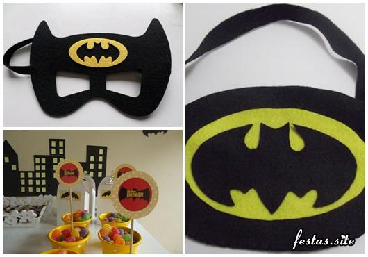 Fotos e Ideias de Lembrancinhas do Batman de EVA máscara, porta doces e máscara de dormir