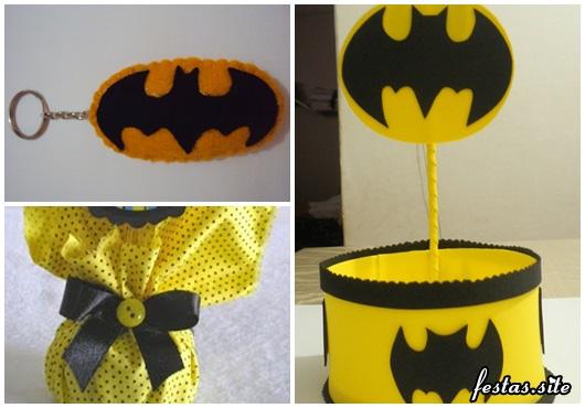 Fotos e Ideias de Lembrancinhas do Batman simples chaveiro, porta doces e saquinho surpresa