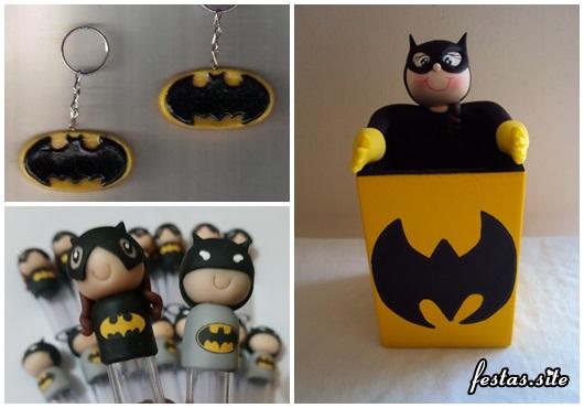 Fotos e Ideias de Lembrancinhas do Batman de biscuit porta caneta, chaveiro e tubete