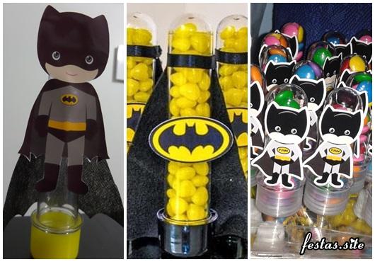 Fotos e Ideias de Lembrancinhas do Batman tubete personalizado com aplique