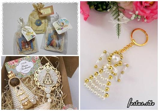 Lembrancinhas Fáceis de Fazer religiosas chaveiro Espirito Santo de pérolas, medalinha e Santa baby