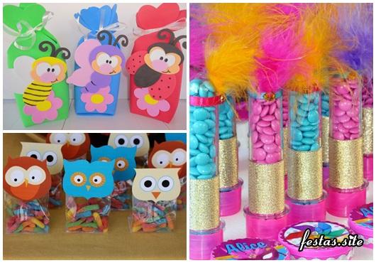 Lembrancinhas Fáceis de Fazer para festa infantil saquinho de EVA com aplique, tubete e saquinho de balas corujinha