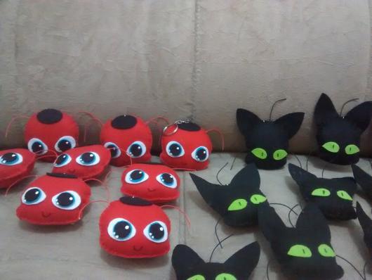 Lembrancinhas Ladybug em feltro chaveirinhos