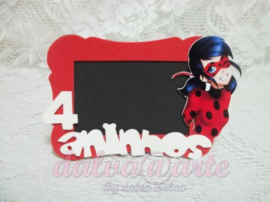 Lembrancinhas Ladybug porta retrato de EVA