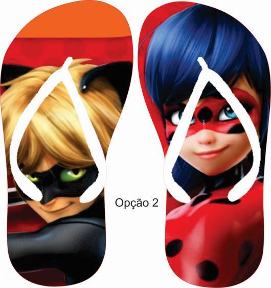 Lembrancinhas Ladybug e Catnoir chinelo personalizado