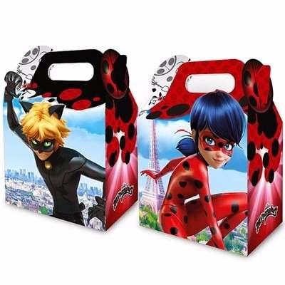 Lembrancinhas Ladybug e Catnoir caixinha de papel personalizada