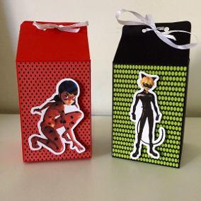 Lembrancinhas Ladybug e Catnoir caixinha Milk