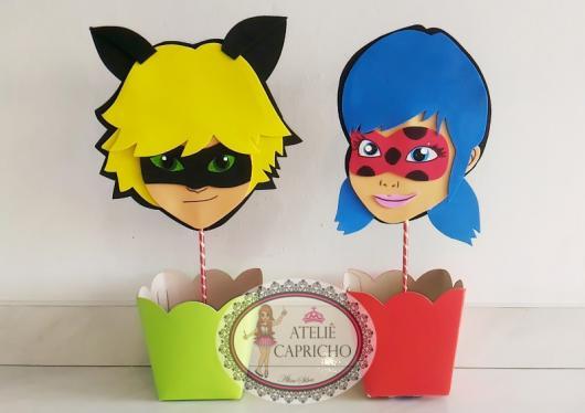 Lembrancinhas Ladybug com EVA centro de mesa porta doces
