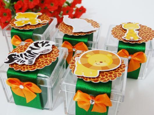 Lembrancinhas Personalizadas Safari: caixinha de acrílico