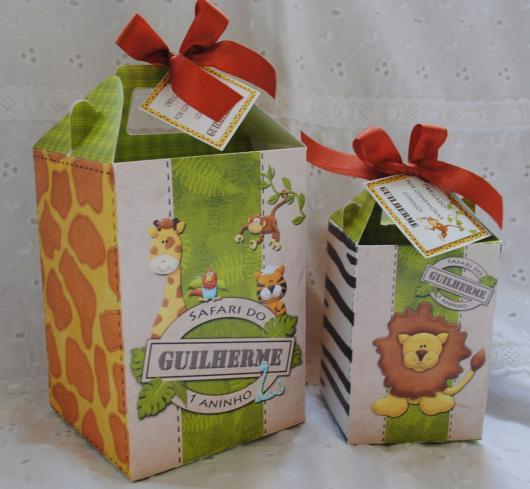 Lembrancinhas Personalizadas Safari: caixinha de leite