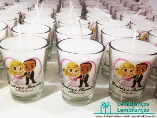 Lembrancinhas Personalizadas para Casamento: copo com vela
