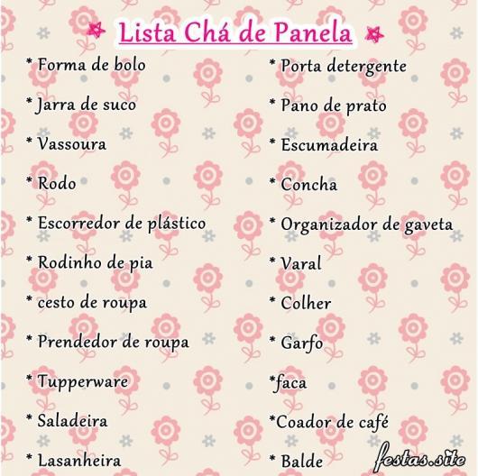 Lista de Chá de Panela de pobre