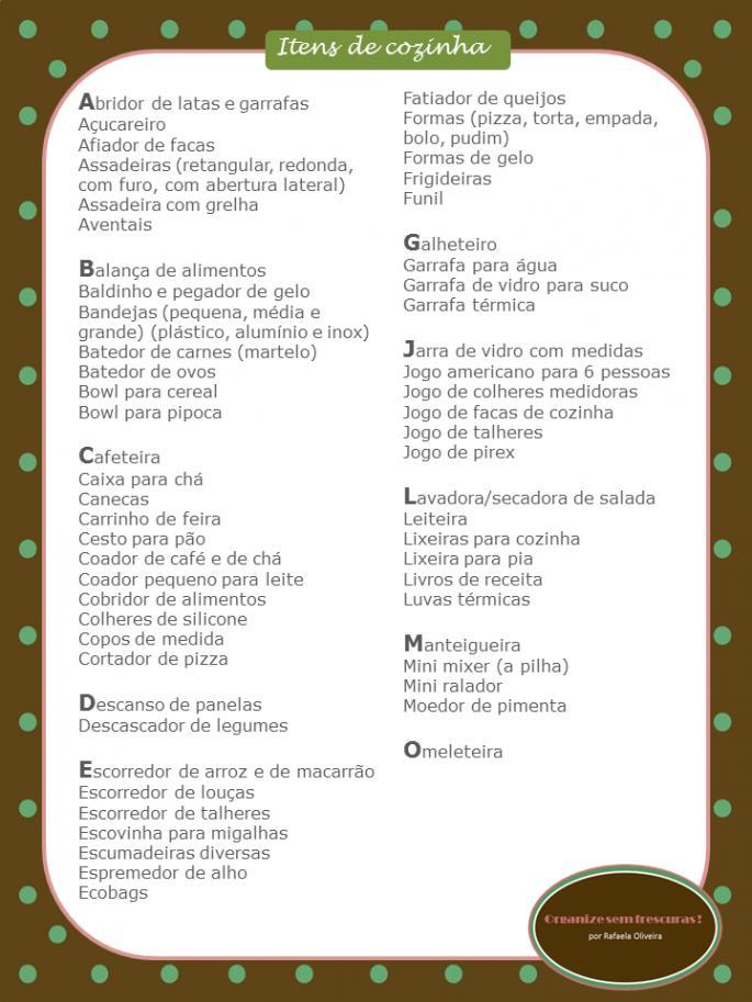 Lista de Chá de Panela simples
