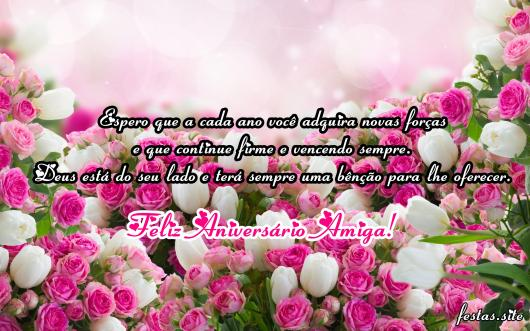 Mensagem de Aniversário para Amiga com flores
