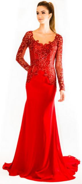 Vestido de Formatura Vermelho com renda do quadril até o busto