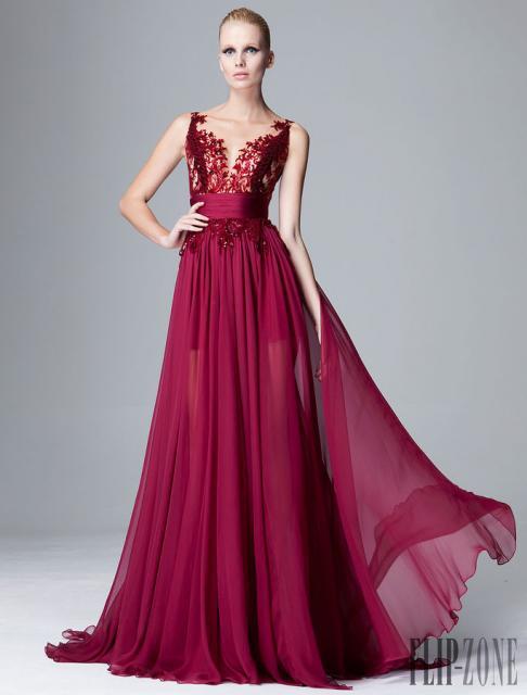 Vestido de Formatura Vermelho bordo longo