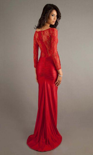 Vestido de Formatura Vermelho com renda coladinho