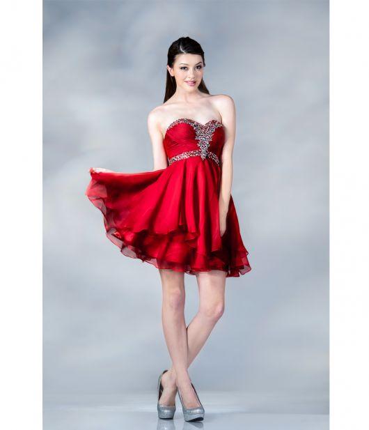 Vestido de Formatura Vermelho curto com bordado prata