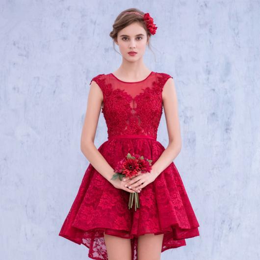 Vestido de Formatura Vermelho com curto com tiara