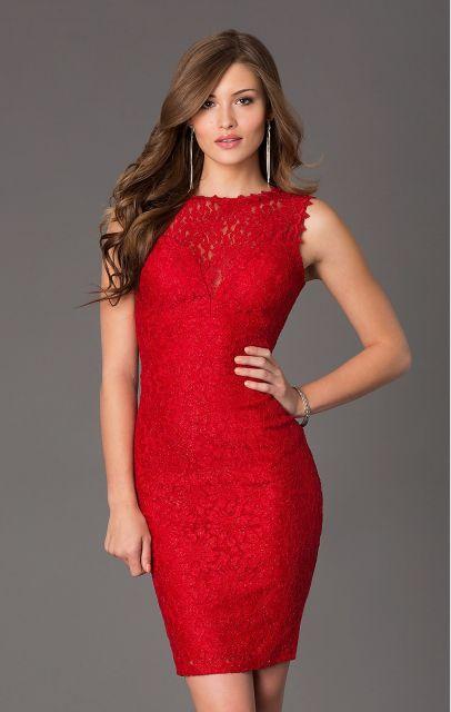Vestido de Formatura Vermelho com tubinho