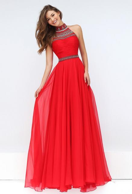 Vestido de Formatura Vermelho com com pedraria