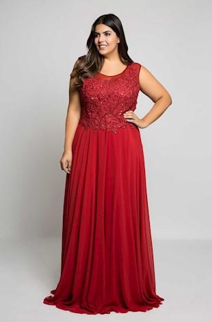 Vestido de Formatura Vermelho com renda e tulÊ